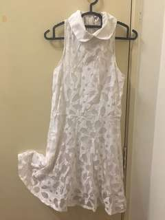 Halter Neck White Lace Dress [S]