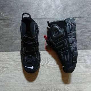 (Best Seller) Supreme x Nike Air More Uptempo All Black