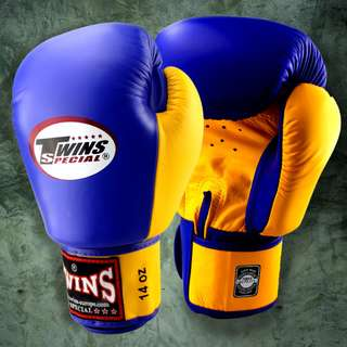 Twins Special Muay Thai Gloves - Two-tone - Blue/Yellow - 12 oz