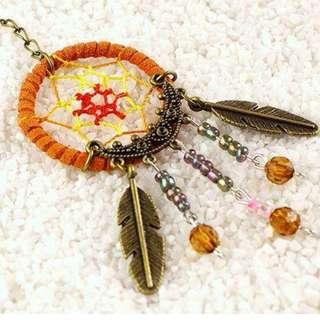 印第安 Dreamcatcher 復古 水晶彩珠 鍍銅 捕夢網 鎖匙扣  (可作車箱掛飾)