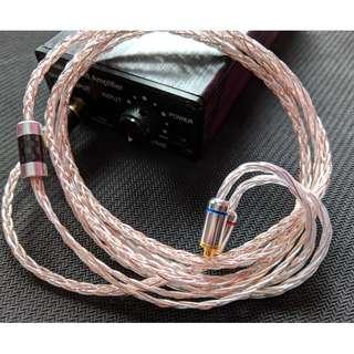 耳機升級線 純人手編製 訂做 8絞 [進口日本7N鍍銀線混編單晶銅] (MMCX / CM / Westone / UE / Ath)