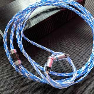 耳機升級線 純人手編製 訂做 8絞 單晶銅鍍銀線 (Shure /MMCX / CM / Westone / UE / ATH IM)