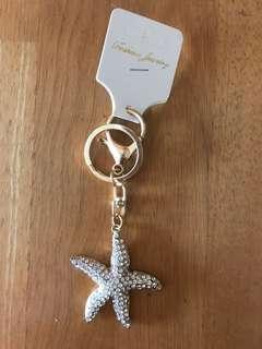Sea Starfish Rhinestone Keychain