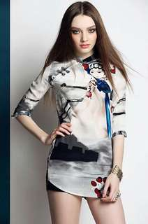 3D Ink Print Chinese Collar Blouse