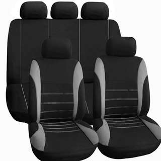 Universal FULL Car Seat Cover Set 9Pcs blk/gray