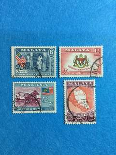 1957 Malayan Federation General Issue 4 Values Used Set