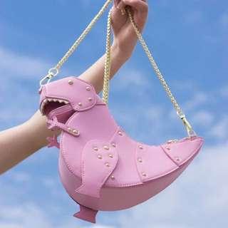 Kate spade 款 粉色 鏈條 恐龍包