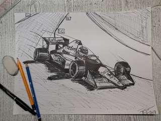 鋼筆素描 McLaren MP4/4