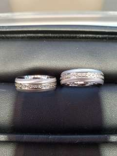 Pair of 14K585 White and Yellow Gold Wedding Rings with FreeEngraving ❤Italy Made❤