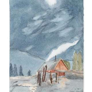 LOG CABIN IN SNOW watercolour painting comes with elegant frame