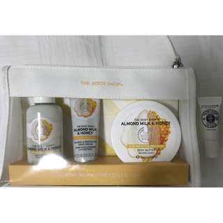 Body Shop- Almond Milk& Honey Collection( Free loccitane lip balm)