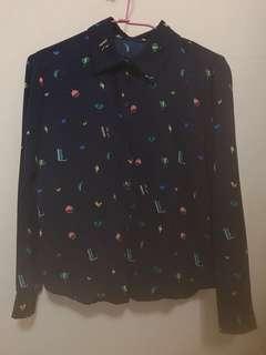 🚚 深藍多樣式可愛圖案長袖襯衫