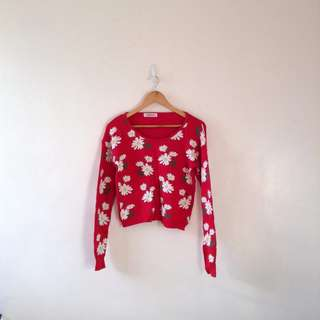 Floral Red Sweater
