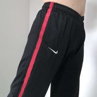 Nike Black/Red Stripe Athletic Track Pants Size L
