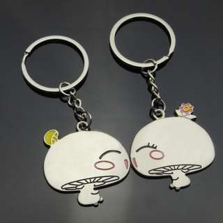 Lovely Mushroom Shape Couple Keychain Set