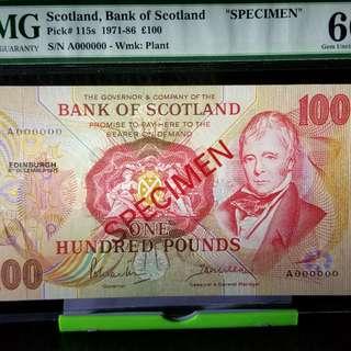 Bank of Scotland  /Specimen/ PMG 66 EPQ