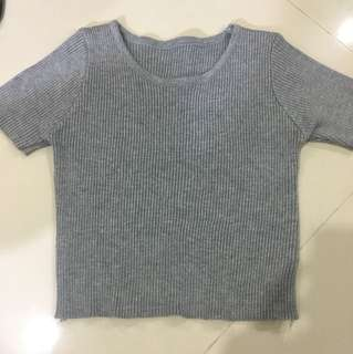 [$6 MAILED Grey Cropped Top]