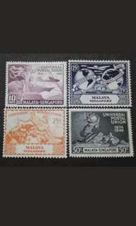 Malaya 1949 Singapore Universal Postal Union UPU Complete Set - 4v MNH Stamps