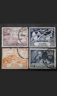 Malaya 1949 Singapore Universal Postal Union UPU Complete Set - 4v Used Stamps #1