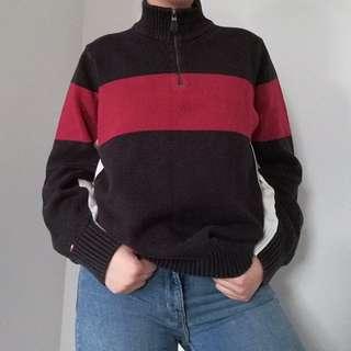 Tommy Hilfiger Colourblock Quarter Zip Knit Sweater Size M