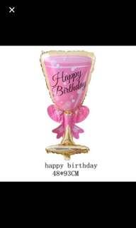 Happy birthday wine glass balloon