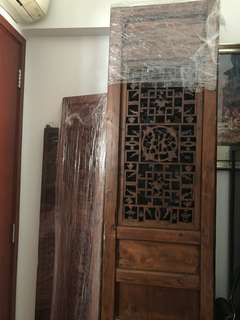 Set of four Chinese wooden panels