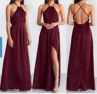 Burgundy Halter Dress (Suitable for Prom)