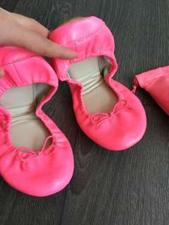 Gap 100% Leather Neon Pink Ballet Flats Size 8.5