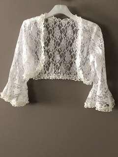 Brand New Bridal Front Open White Lace Bolero