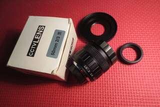 Lensa Fix 50mm f1.4 CCTV lens untuk Mirrorless Canon Bekas