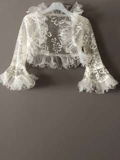 Brand New Bridal Front Open White Lace Bolero