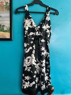 Black & White floral satin dress