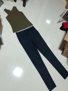 Cheap woman tank top singlet dark blue body hugging pants