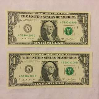 美元 兩連號