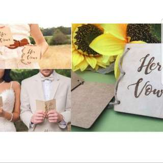 His and Her Vow - Wooden Blank Card
