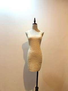 Beige Ruched Bodycon Dress