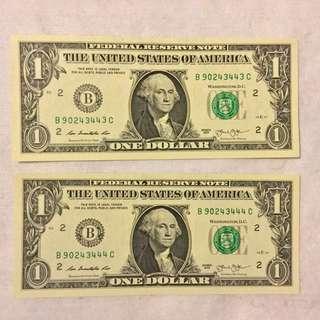 美元 兩連號 豹子號