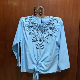 Embroidery Blue Blouse