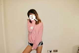 Pink embroider heart hoodie