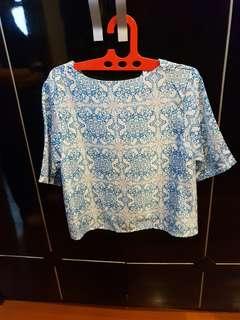 Atasan wanita biru putih baju muat sampai besar