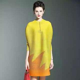 Yellow origami dress