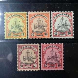[lapyip1230] 德屬喀麥隆 1900年 皇室遊艇 原膠新票一份 Mint