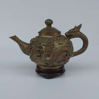Vintage Collectible Decorated Embossed Dragon Chinese Old Handwork Silver Carved Tea Pot