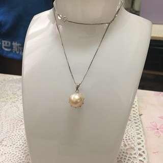 天然淡水珍珠s925純銀巴洛克心型吊墜
