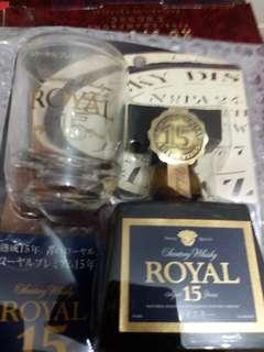 陳年三得利SR15年威士忌酒辦50ml連小酒杯套裝。