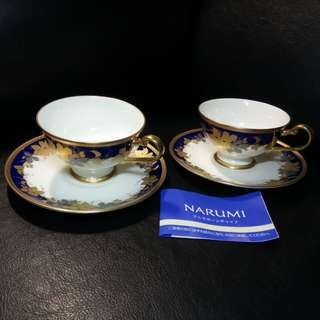 A very special pair of NARUMI Gold Trimmed Tea Cup Set. Brand new, never used