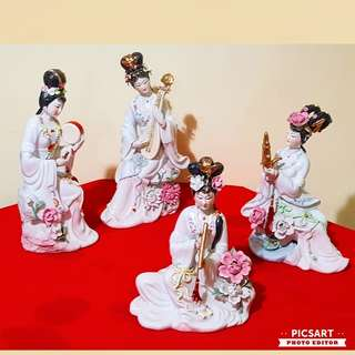 Vintage Chinese Porcelain Fairies playing Musical Instruments. Large, not small (refer to photos).  Golden Pheonix or Flowers on her head, protruding flowers beside her. Good Condition, no chip no crack. Each $68 or All 4pcs for $200 offer! Sms 96337309.