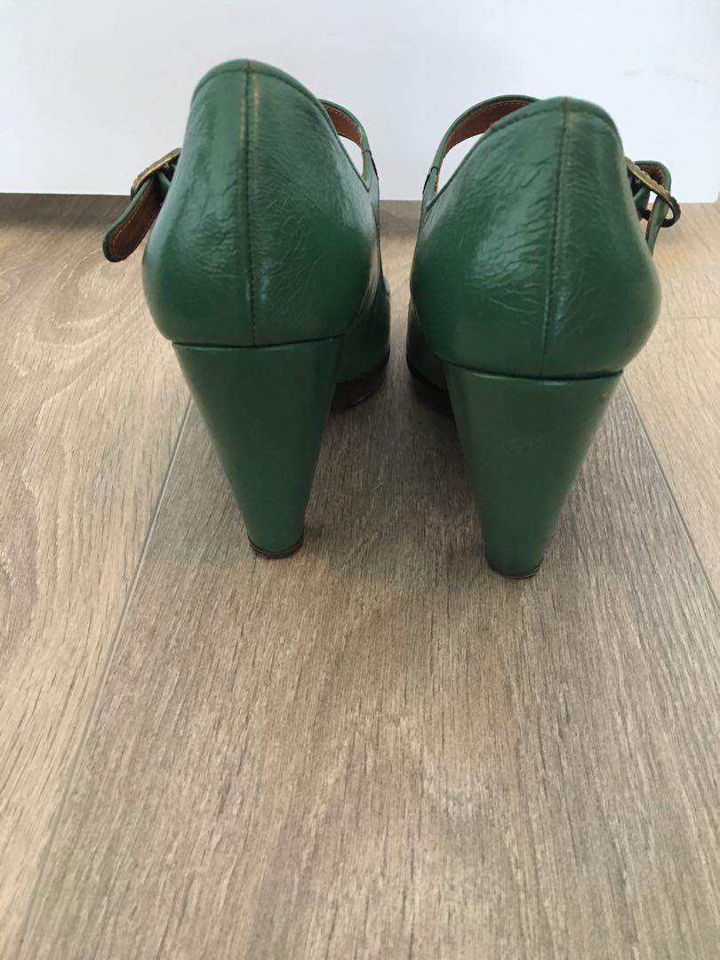 Chia Mihara green peep toe pumps 7.5