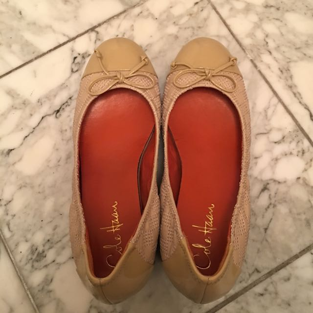Cole Haan Nude Wedge Leather Flats Size 6.5 $20