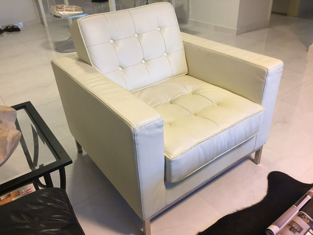 Florence Knoll style cream leather and chrome chair